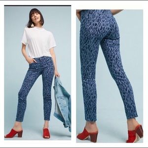 Anthropologie Pilcro Leopard Mid-Rise Skinny Jeans